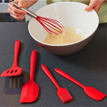 5PCS Silicone Red Cooking Utensils Set Non-stick Spatula Shovel Wooden Handle Tools with Storage Box Kitchen
