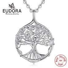 EUDORA Sterling Silver Tree Of life Pendant Family tree Necklace with Happy people Fine Jewelry for Women Party Gift D448