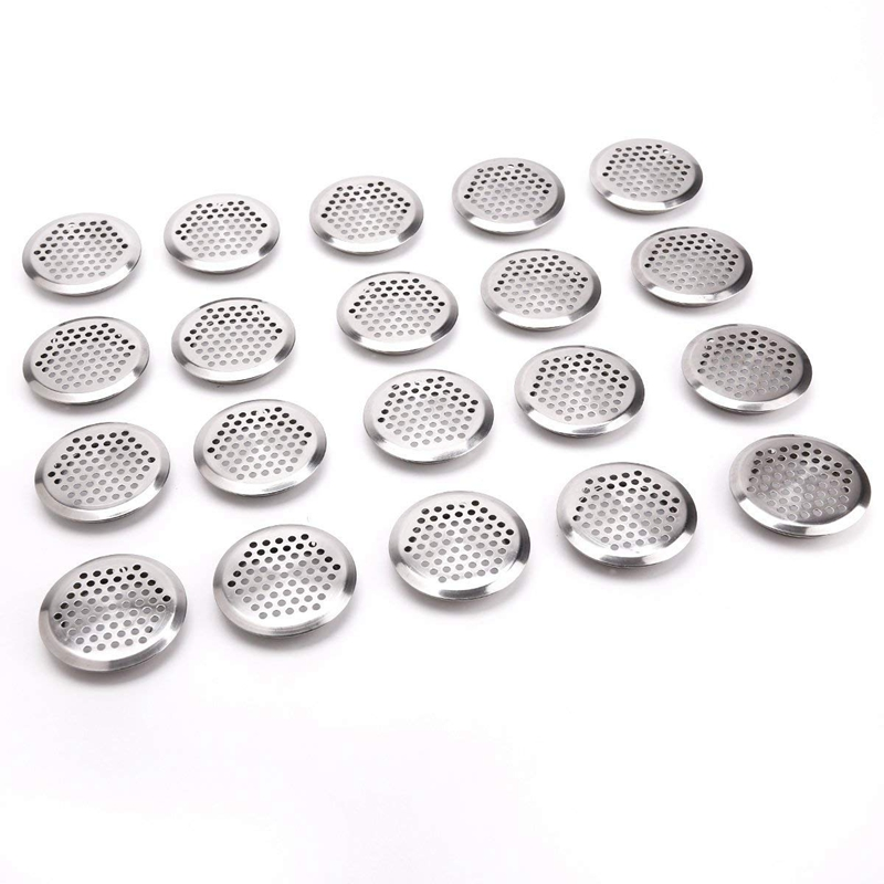 20 X Aeration Grid Ventilation Circle Lid 65mm Stainless Steel Silver