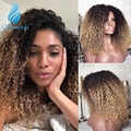 13*6 Омбре медовый блонд фронта шнурка человеческих волос парик с волосами младенца 180% Плотность бразильские волосы Remy кудрявые парики шнурк...