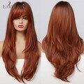 EASIHAIR Rot Braun Dunkle Wurzel Synthetische Lange Wellenförmige Perücken mit Pony Farbige Fiber Haar Cosplay Perücken für Schwarze Frauen Wärme beständig