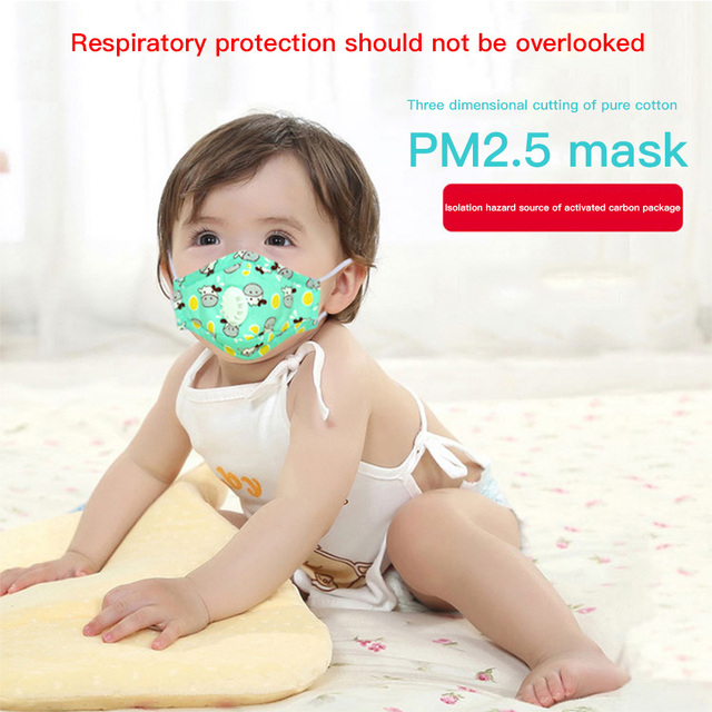 PM2.5 Children Respirator Mask With Breathing Valve Washable Cotton Activated Carbon Filter Mouth Masks Anti Dust Allergy Flu