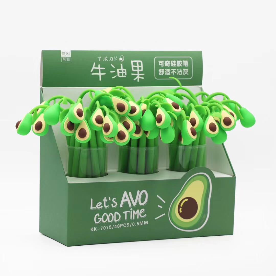 Avocado Style Soft Silicone Glue Gel Pen Signature Pen Escolar Papelaria School Office Supply Promotional Gift