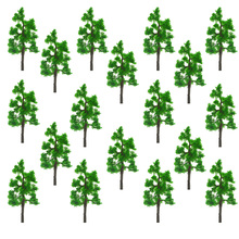 50pcs 35-50mm height model green trees toys scale miniature sandtabke wargame color plants for diorama forest garden scenery