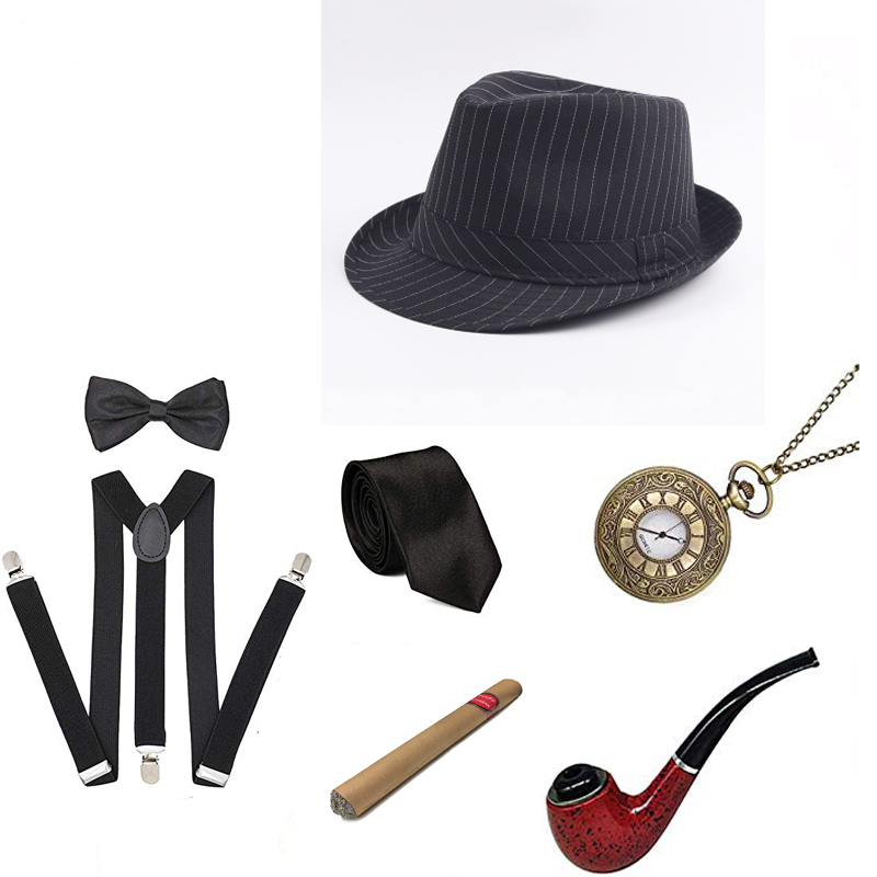 1920S Mens Great Gatsby Accessories Set Roaring 20s 30s Retro Gangster Costume Costume Pipe Vintage Pocket Watch