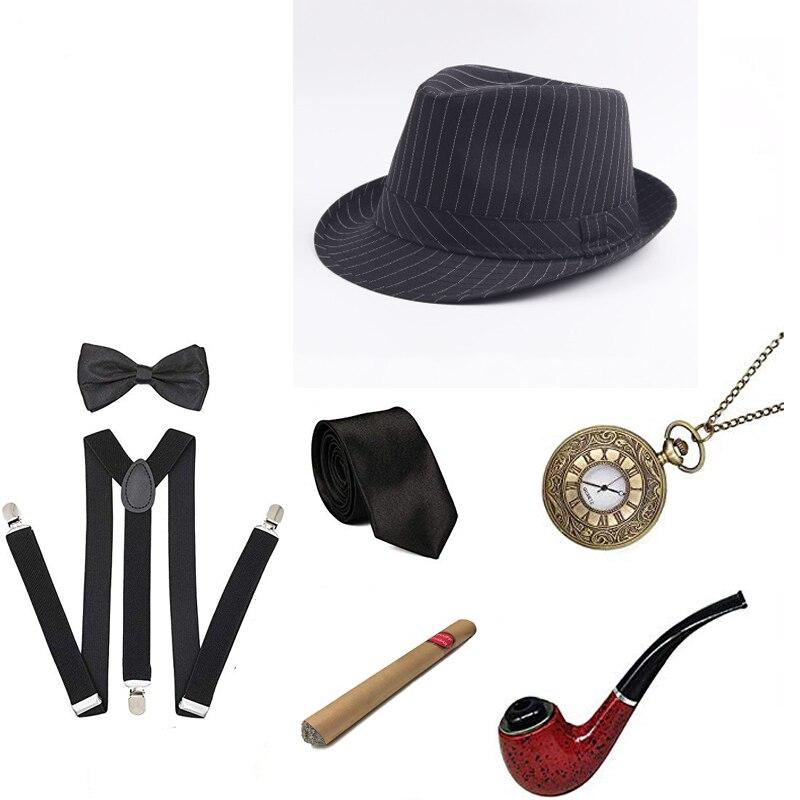 1920-х годов Мужской комплект аксессуаров Great Gatsby, Roaring 20S 30s ретро Гангстерский костюм, винтажные карманные часы