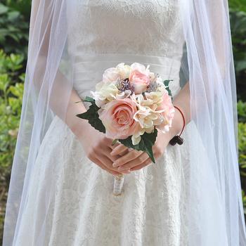 TRiXY F8 bukiet ślubny kwiaty akcesoria ślubne bukiety ślubne mieszane róże bukiety ślubne do dekoracji druhen tanie i dobre opinie Poliester Wiskoza 28cm 20cm 0 18kg as picture artificial roses bouquet Wedding Bouquet Artificial Flowers for Weddings Wedding Flower Bridal Bouquet