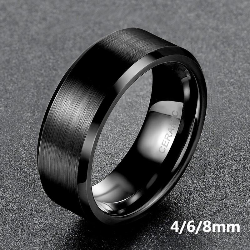 Somen Ring Men Black Ceramic Ring Brushed Love Wedding Band Engagement Rings Fashion Men Jewelry Gilft Bague Homme 8mm 6mm 4mm Promise Ring Ring Forblack Ceramic Ring Aliexpress