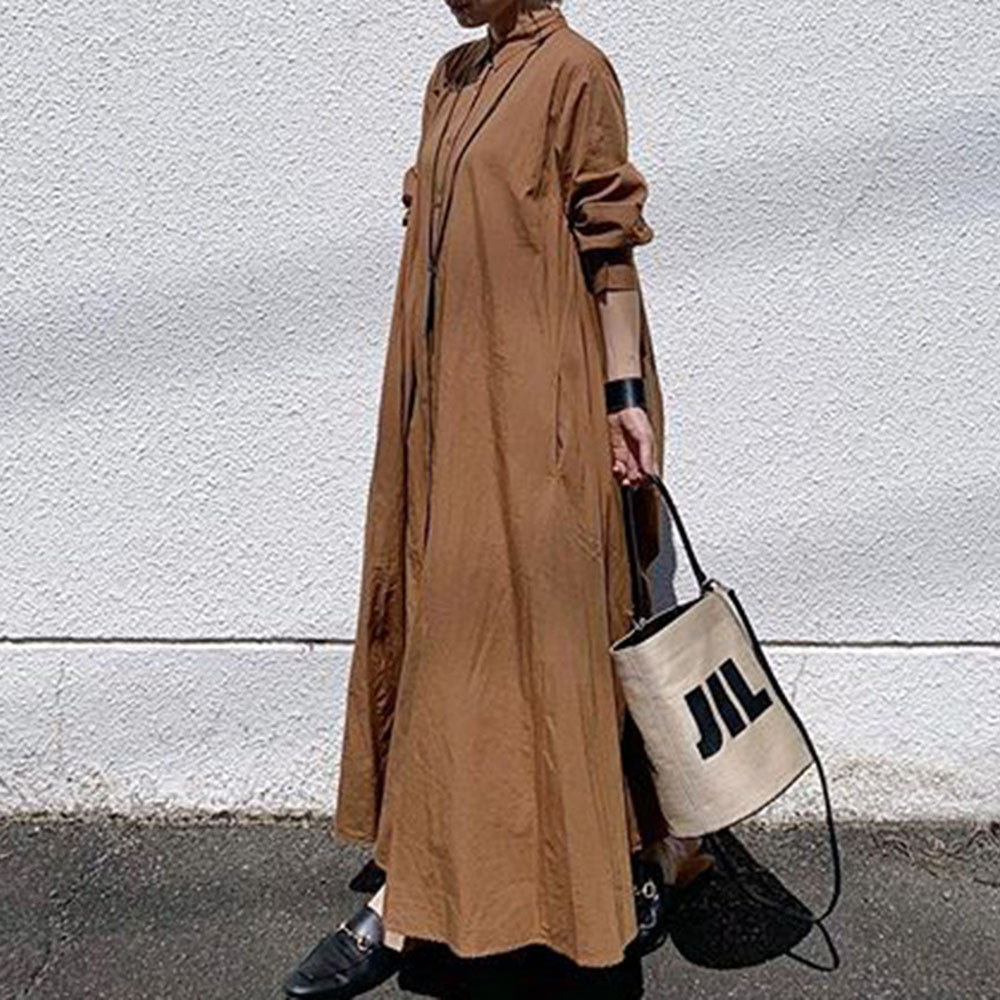 Korean Autumn Long Dress 2019 Women Plain Loose Long Sleeve Linen Dresses Office Ladies Causal Robe Plus Size Blue Vestidos