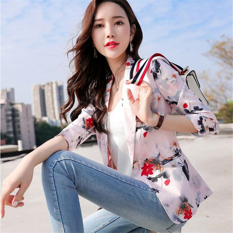 Spring Autumn Printed Small Suit Jacket Seven-point Sleeve Short Women's 2020 New Fashion Office Suit Jacket Large Size M-XXXL