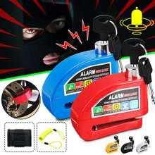 Trava de disco universal para motocicleta, kit de alarme de segurança antifurto para moto de 2m e saco