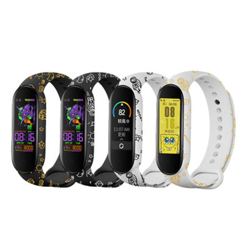 Suitable For Xiaomi Mi Band 5 Bracelet Strap Replacement Wristband Colorful Flowers Universal Silicone