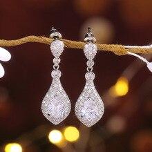 Women's earrings Jewelry Earrings with stones Fashion earrings Wedding earrings Zircon drop shape Earrings fashion retro E209