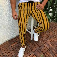 Men Gym Sports Jogging Trousers Bottoms Tracksuit Skinny Side Stripe Elastic Waist Sweatpants Drawstring Track Slim Fit Pants contrast tape side drawstring waist sweatpants