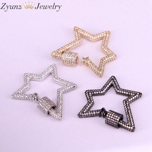 Image 2 - 3PCS, Star Jewelry Clasps Lock Carabiner Micro Pave CZ Copper Connector Clasp For Necklace Jewelry Making