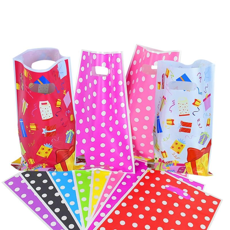 10/20 шт. 16*25 см с рисунком в горошек для девочек, ручкой полиэтиленовый пакет там мешок с подарками для лечения конфет упаковочной коробки рож...