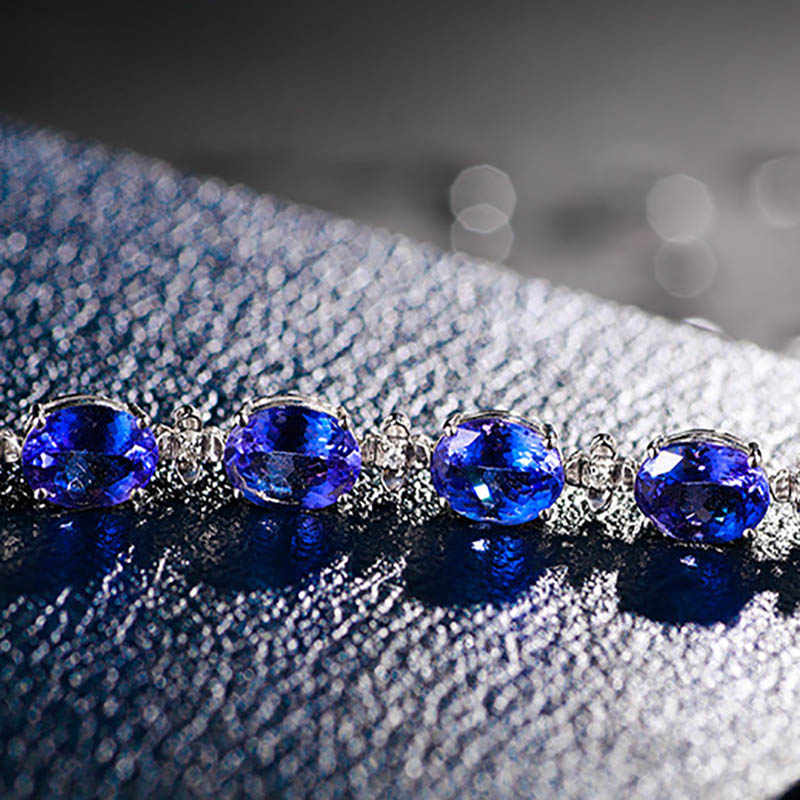 Bague Ringen Luxury 100% 925 เงินสเตอร์ลิงสร้อยข้อมือผู้หญิงสีฟ้าพลอย Lady Fine เครื่องประดับขายส่งของขวัญ