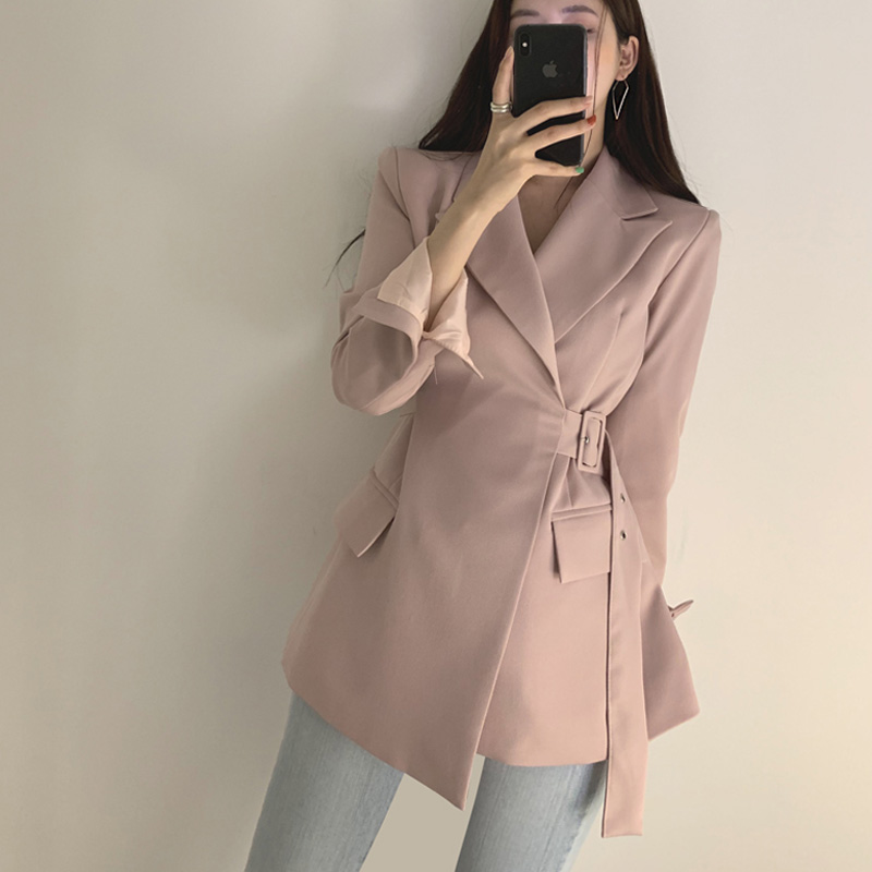 Chic Pockets Women Blazer Autumn Single-breasted Female Outerwear Jacket Elegant Ladies Coat Lace Up Slim Women Suit 2019