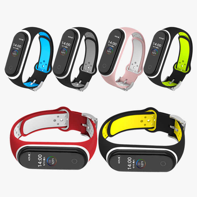 Voor Xiao mi mi band 4 Strap smart Accessoires Vervanging Waterdichte Dubbele Kleur Siliconen Armband Voor Mi Band4 nfc pols band