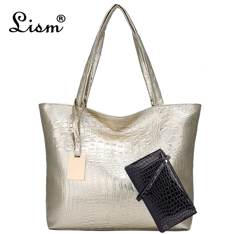 New Fashion Crocodile Women Shoulder Bags Silver Gold Black Handbag PU Leather Female Large Tote Bag Ladies Hand Bags Sac