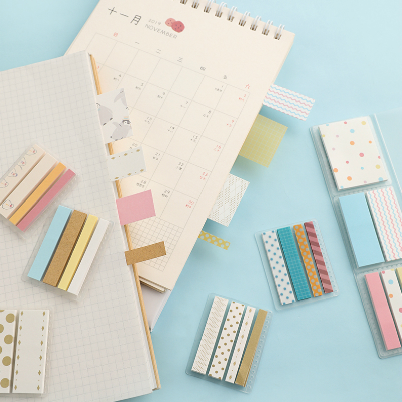 1pc KOKUYO Campus/HALCO Kawaii Sticker Sheet  Sticky Note Pads Memo Notepad Multiple Sizes Flexible Marking Planner WSG-MEKS