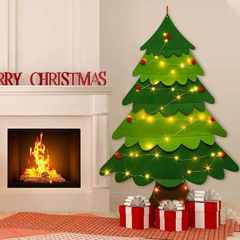 DIY Felt Christmas Tree New Year Gift Children Toys Artificial Wall-Mounted Home Decoration Ornaments Toyss