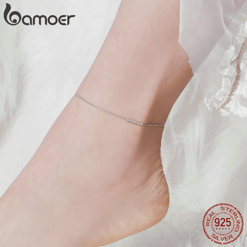 bamoer Silver Small Beads Anklets for Women Beaded Summer Sterling Silver 925 Foot Jewelry Fashion Style Leg Bracelet SCT007