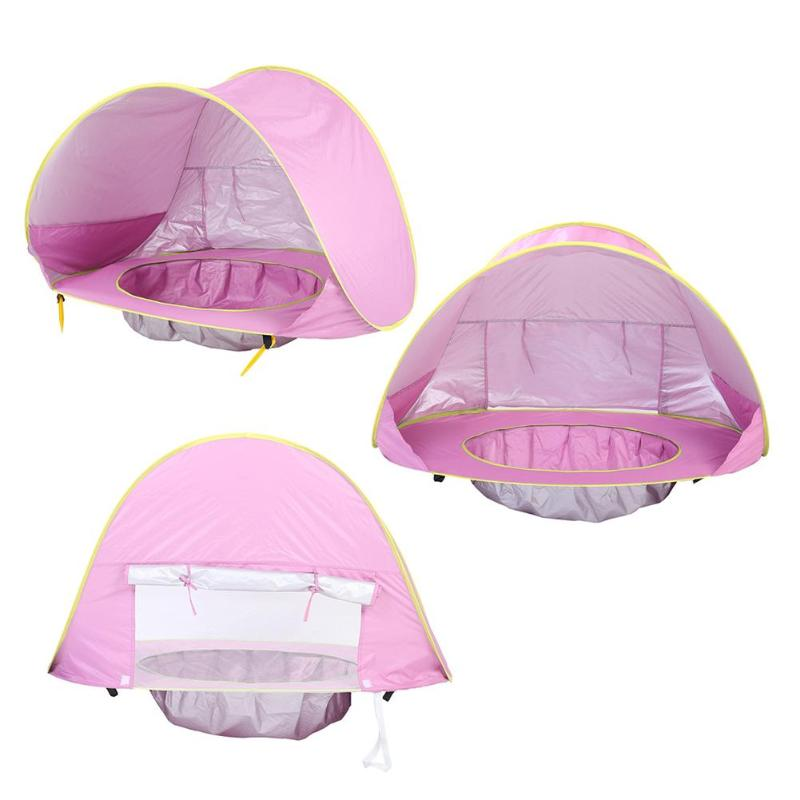 Купить с кэшбэком Baby Beach Tent Uv-protecting Sunshelter Children Toys Small House Waterproof Pop Up Awning Tent Portable Ball Pool Kids Tents
