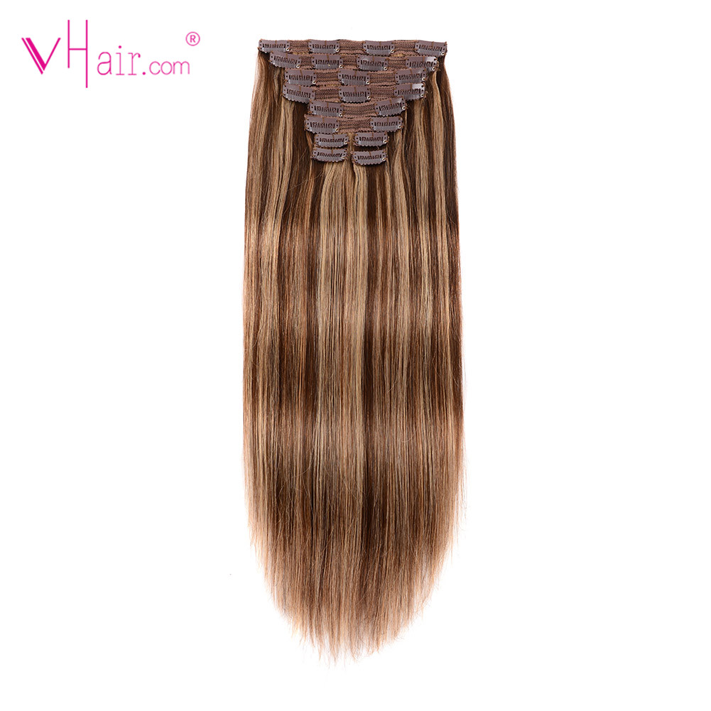 VHair Straight Clip Ins 100% Real Remy Hair 22'' 10pcs/set 220g Clip In Human Hair Extension Full Head Double Weft Natural Color