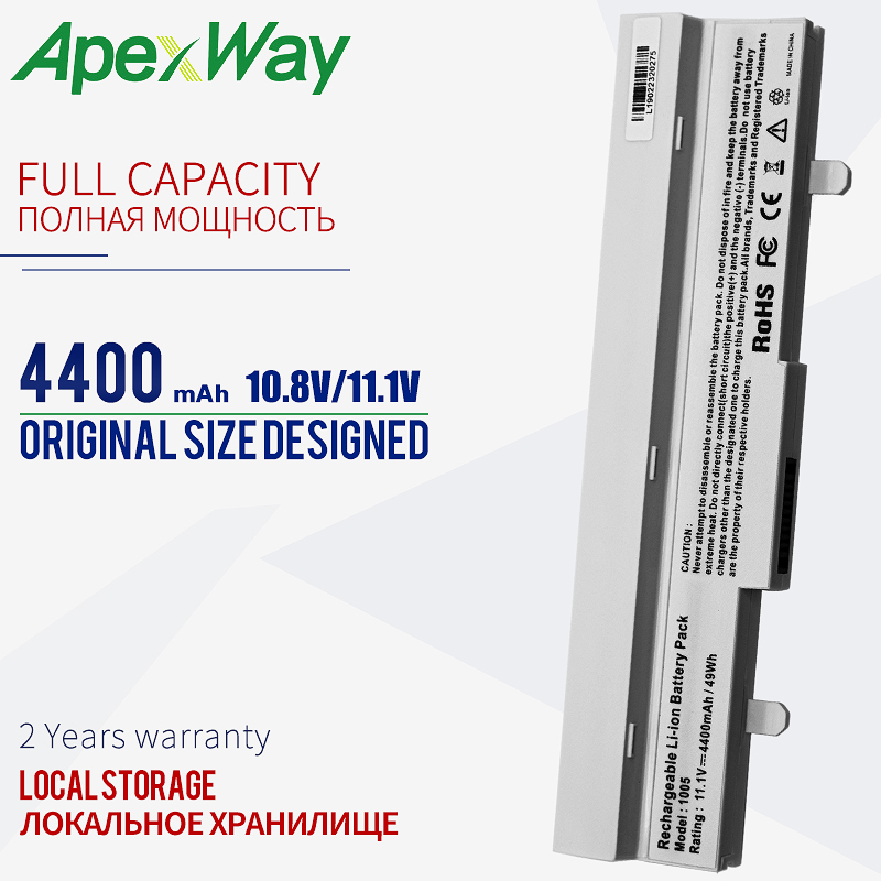 Apexway Laptop Battery White 4400mAh For Asus Eee PC AL31-1005 AL32-1005 ML32-1005 PL32-1005 1005 1001P 1001HA 1101HA