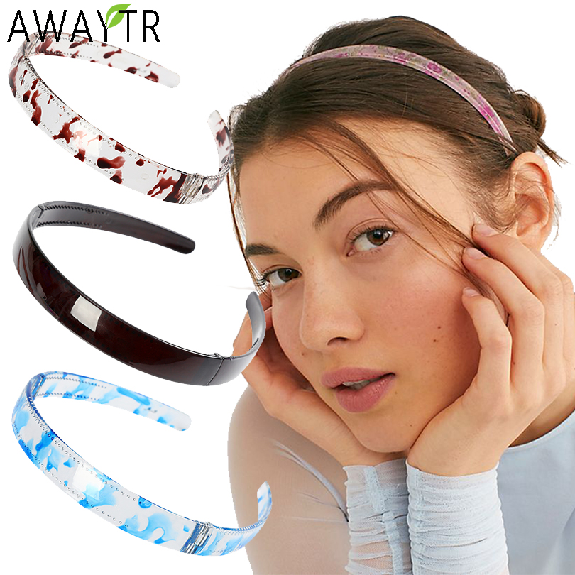 AWAYTR Simple Plastic Foldable Hairband Hair Hoop Printing Solid Transparent Headband Wild Style Hair Accessories For Women Band