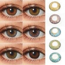 Lentillas de 3 tonos para ojos, lentillas de colores para ojos oscuros, lentillas de contacto de Color multicolor, 1 par