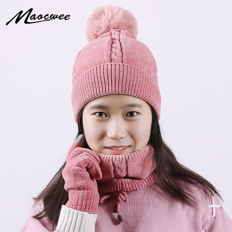 Woman Winter Scarf Hat And Touch Screen Gloves Sets Knitted Warm Fur Pom Poms Ski Plus Velvet Hat Pompoms Caps Skullies Beanies