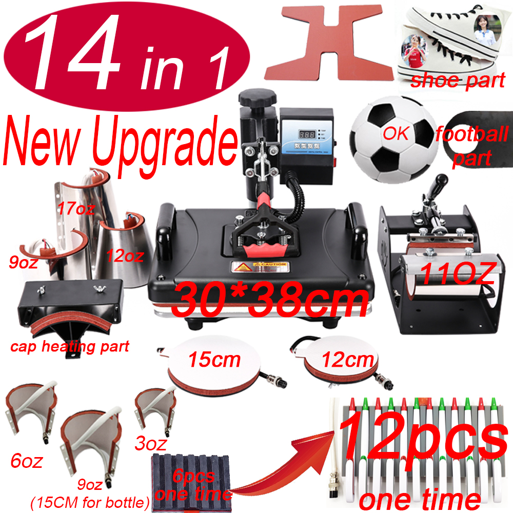 14 In 1 Heat Pen Press Machine,Sublimation Printer/shoe Transfer Machine Heat Press For Mug/Cap/T Shirt/shoe/bottle/pen/football