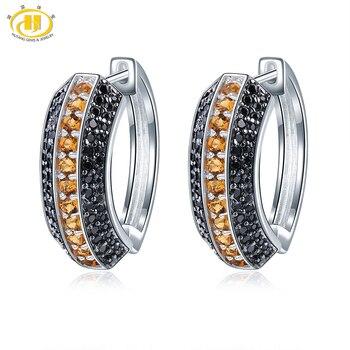 Hutang Natural Citrine Hoop Earrings Gemstone Black Spinel 925 Sterling Silver Fine Elegant Classic Jewelry for Women's Gift New