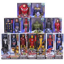 Super Heroes Avengers Thanos Schwarz Panther Captain America Thor Iron Man Spiderman Hulkbuster Hulk Action Figur 12