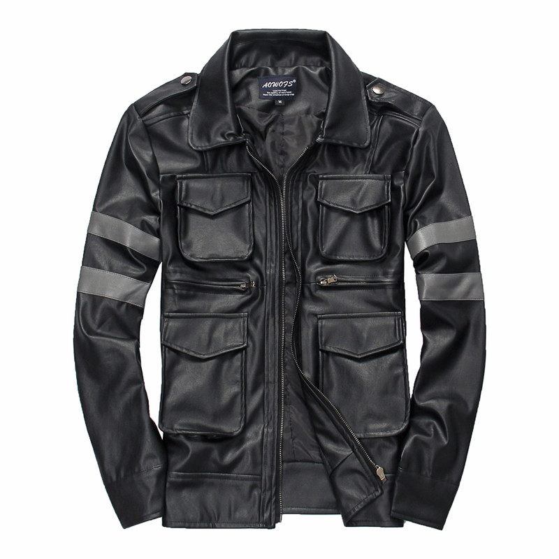 Free Shipping Turn-down Collar Short Men Leather Jackets Top Quality PU Handsome Multi-pocket Motorcycle Leather Jackets Black