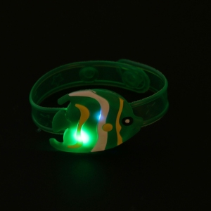 Xmas Gift Children Kids LED Light Glow Luminous Wrist Band Cartoon Bracelet Toys H55B
