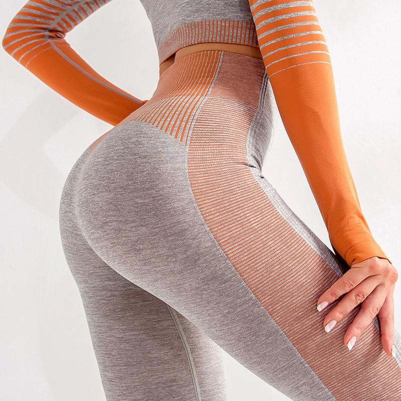 Activewear Seamless Leggins Women Fashion Striped Fitness Women Leggings High Waist Push Up Knitting Leggin Jegging Femme 6