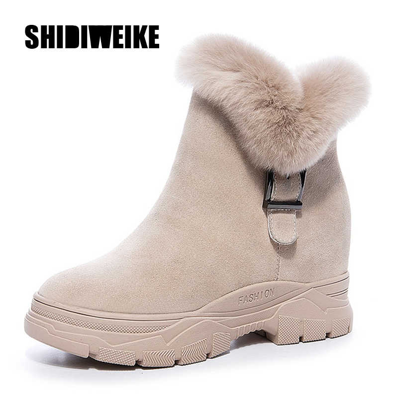 Winter Shoes 2020 Warm Fur Women Snow Boots Genuine Leather Ankle Boots For Woman Hidden Heel Shoe Women Winter Shoes Snow Boot