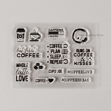 clear coffee stamps for scrapbooking,diy album stamps transparent silicone stamps(China)
