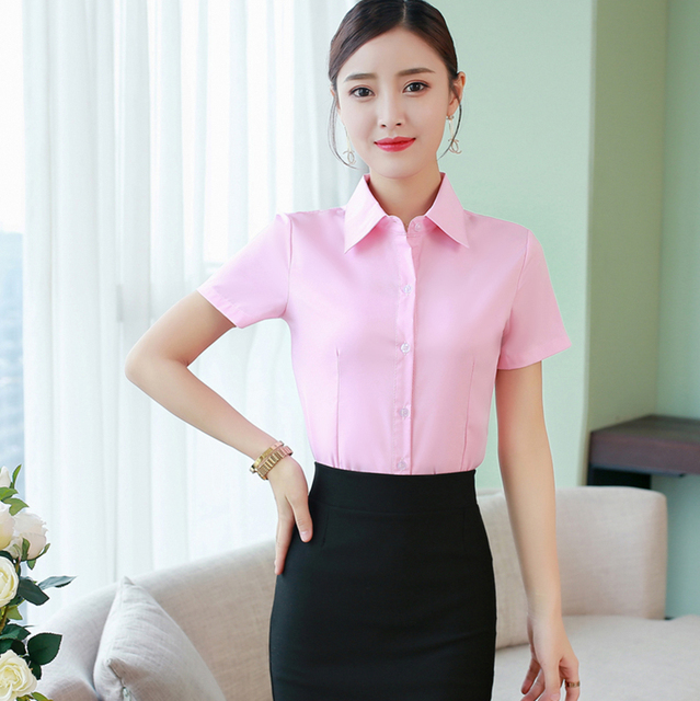 Korean Fashion Summer Cotton Women Shirts White Short Sleeve Women Blouses Ladies Plus Size 5XL Pink Womens Tops and Blouses 6
