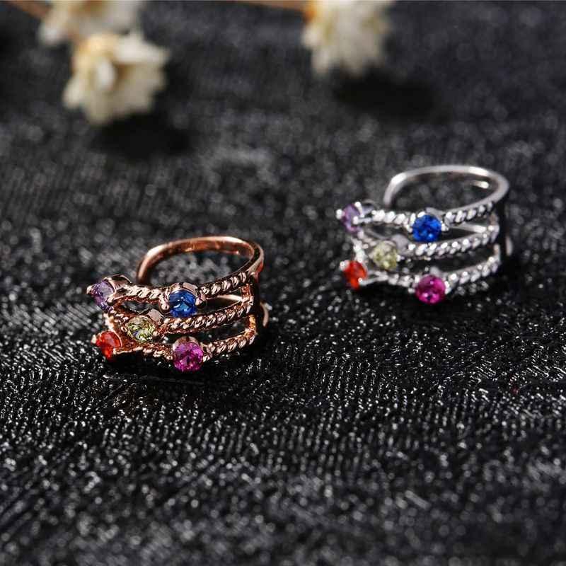 MIGGA 1PC coloré petit cubique Zircon cristal oreille manchette Rose or couleur Mini Clip boucle d'oreille pour les femmes