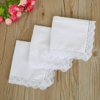 Vintage Cotton Women Hankies Embroidered Butterfly Lace Flower Hanky Floral Assorted Cloth Ladies Handkerchief Fabrics