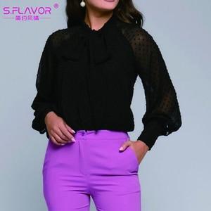Image 3 - S.FLAVOR Fashion Women Casual Bow Tie Tops Ladies Chiffon Shirt Blouse Long Sleeve Ploka Dot Elegant Female Summer Clothes