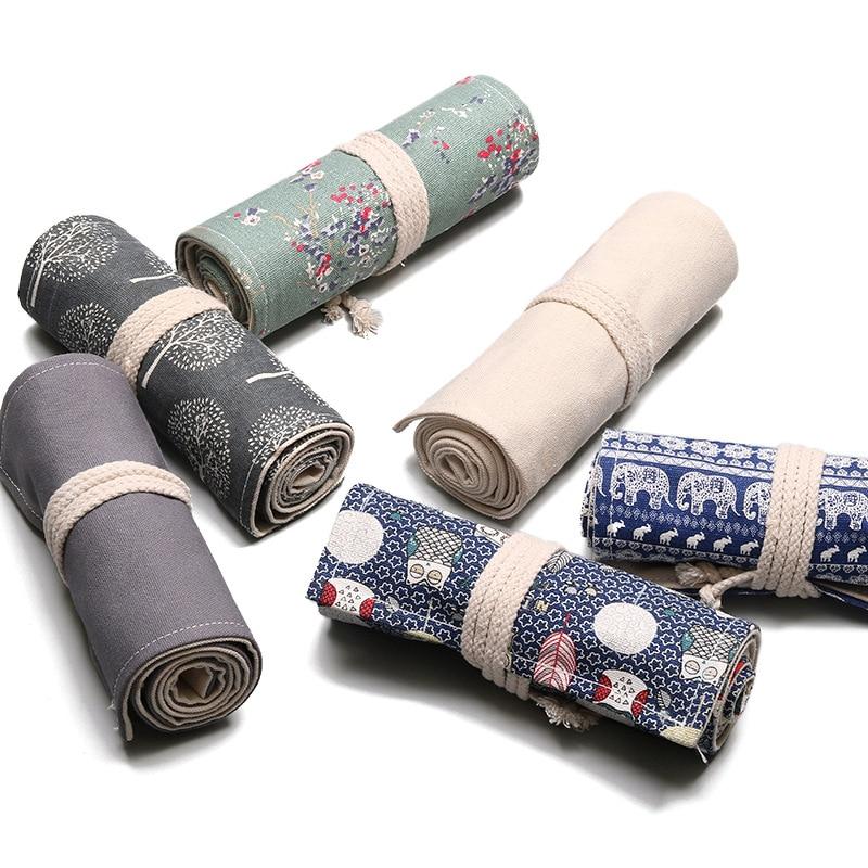Купить с кэшбэком 36 Holes Pencil Case School Supplies Art Pen Bag Pouch Canvas Pen Wrap Roll Makeup Cosmetic Brush Pen Storage Stationery Student