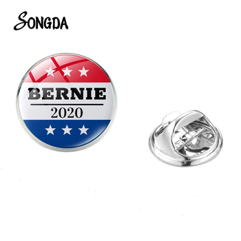 Bernie 2020 Campaign Brooch American President Campaign Art Picture Glass Dome Lapel Pin Badges Coat Bag Decorations Men image
