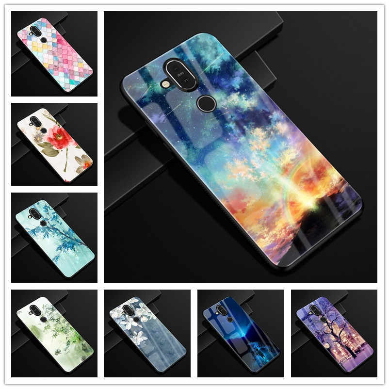 For Nokia 8.1 Case Tempered Glass Hard Back Cover phone case for Nokia 8.1 Nokia8.1 Case Soft Bumper For Nokia X7 2018 Cases