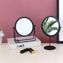 Espejo de escritorio europeo de hierro forjado redondo de una sola cara espejo de tocador de escritorio Simple portátil para chica