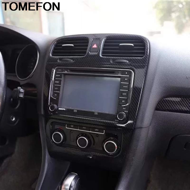 TOMEFON For Volkswagen Golf 6 MK6 2010 2011 2012 Middle Center Control Air Condition Switch Button AC Outlet Vent Cover Trim ABS